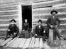"""*Postcard-""""Cabin Made of Lincoln Logs"""" ...-Men & Lady...Sit on Porch-"""