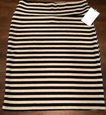 NWT LuLaRoe 2.0 Large Black and Tan/Taupe Striped Cassie Pencil Skirt