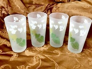 VTG. Frosted Glass MCM Tumblers Drinking Glasses w Green + White Leaves Set of 4