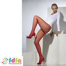 RED CLASSIC FISHNET TIGHTS PANTYHOSE ladies fancy dress accessory womens hosiery