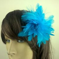 turquoise feather flower fascinator millinery hair clip wedding piece ascot race