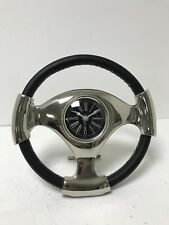 Large Steering Wheel Metal Black Leather Mantle Clock Silver Modern Home Decor