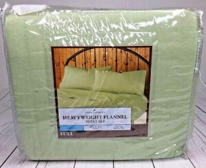 New Home Classic Heavyweight Flannel Sheet 4-Piece Set Full Green