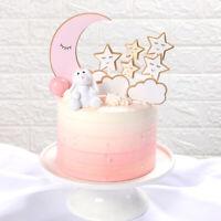 9Pcs Cake Picks Cupcake Party Decoration Moon Stars Cake Card Plugin Cake Topper