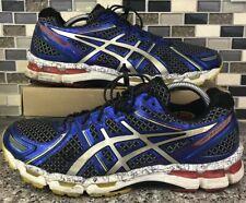 ASICS T342N Gel Kayano 19 Blue/Black/Gray/Red Running Shoes Men's 10.5