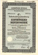 1941 WWII German 1000 Reichsmark Gebruder Stumm Bond