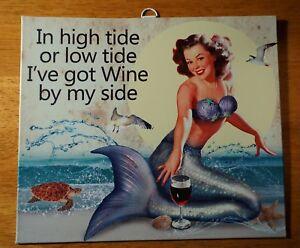 Vintage Retro Mermaid Sign Tropical Kitchen Home Beach Tiki Wine Bar Decor NEW
