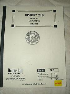 HISTORY 218 VIETNAM WAR LIEBERMAN FALL 1998, PB, COPYRIGHT 1983,