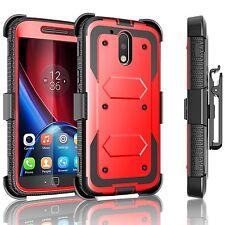 For Motorola Moto G4 / G4 Plus Armor Defender Case + Belt Clip & Built in Screen