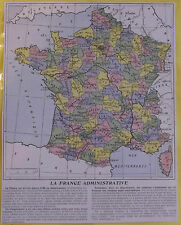 Old Print 1930 Original Larousse Administrative France since 1790