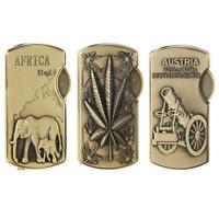 Windproof Bronze Relief Cigarette Lighter Refillable Butane Gas Cigar Lighter