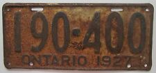 Ontario 1927 License Plate # 190-400