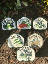 More details for vegetable signs cast iron hand painted set of 6 markers tags labels gardening