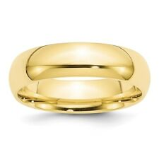 10K Yellow Gold 6mm Comfort Fit Wedding Band Solid Ring Sizes 4 - 14