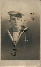 WW1 Sailor Royal Navy wearing WW1 medal ribbons and HM Destroyers cap Tally