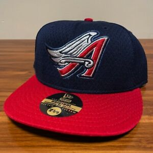 California Angels Hat Baseball Cap Fitted 7 3/8 New Era Blue Mesh BP Vintage USA