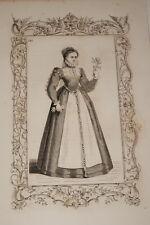 COSTUME JEUNE FILLE DU BRABANT ANVERS CESARE VECELLIO 1860 GRAVURE PRINT R943