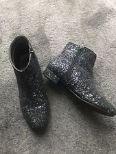 Black/Mixed Glitter Ankle Boots Ladies/Kids Size 6 Ffom M&S
