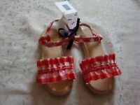 NWT Janie And Jack Girls   GINGHAM RUFFLE SANDALS SHOES  11