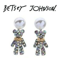 Betsey Johnson Crystal Bear Fashion Earrings US Seller Silver Animal earrings