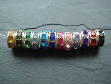 50 rhinestone silver spacer beads 8mm rondelle clear black pink lilac turquoise