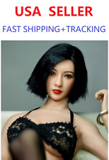 1/6 Asian Female Head Sculpt w/ Black Short Hair in SUNTAN skin tone