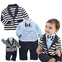 2pcs Newborn Infant Baby Boy clothes Coat+Romper Bodysuit Gentleman Clothes Set