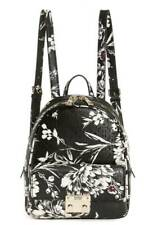 NEW GUESS Tamra Black White Floral Print Glossy Patent Backpack Handbag