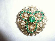 ancien broche pierre vert perle dorure finement travaillé