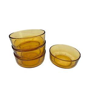 Bormioli Amber Glass Dining Bowl Tempered Vitrosax Italy Small Retro 70s 4X