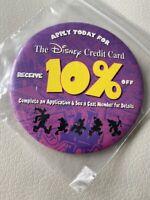 "VINTAGE 3 1/2"" PIN BACK BUTTON DISNEY CREDIT CARD 10% off"
