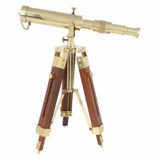 NAUTICAL Brass Spyglass Telescope With Wooden Tripod Marine Scope