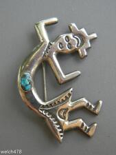 Native American Rainbow Man (Yeibichai Kachina) Sterling Silver & Turquoise Pin