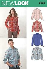 NEW LOOK SEWING PATTERN Misses' & Men's Button Down Shirt 8-18 & 36-46 INCH 6232
