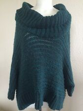 Warehouse green jumper/poncho knit Lagenlook size 12/M/L