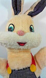 "Vintage Smile Novelty Bunny Rabbit Plush Toy Peach Color Stuffed Animal 17"" Felt"