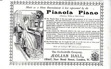 WWI ADVERTISEMENT -THE PIANOLA FROM THE AEOLIAN HALL - THE GRAPHIC (MARCH 1915)