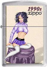 Zippo Windy Vintage Nose Art Blue Top Pinup 1990 Era Satin Chrome Lighter