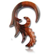 LONG PAIR 2G (6MM) SPIRALS SONO WOOD TALONS PLUGS EAR PLUG HANGER GAUGE