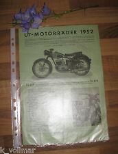 ✪✪✪Antik SAMMLER ORIGINAL Prospektblatt UT Motorräder 1952  Maschinen