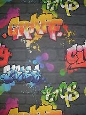 Rasch Papier Tapete -  Gelb Blau Rot Grün Graffiti -  Grau Mauer - 237801 - NEU