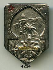 Insigne artillerie coloniale , RACM. ( cartouche jaune , fab. Locale )