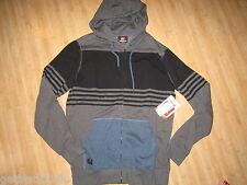 NEW* Quiksilver MENS M Sweatshirt Hoodie Jacket TOP SHIRT $60 Stripes Grey Blue