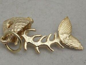 3D MOVING 9ct GOLD FISH BONE  CHARM