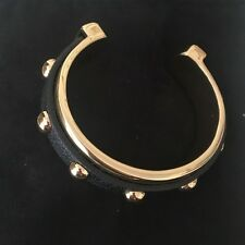 Banana Republic Gold Studded Black Leather Cuff NWT $49.50