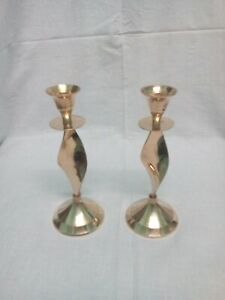 Decorative Collectable Rare Christian Christmas Brass Candle Stand Holder pair