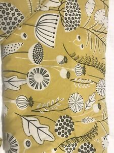 Next King Size Duvet Cover Set Yellow Ochre Mustard Floral Seed Heads