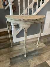 Handpainted Aged Half Moon Console Hallway Pie Crust Table Country Grey