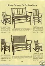 1933 PAPER AD 3 PG Hickory Porch Furniture Lawn Settee Cane Bow Bak Swing Chair