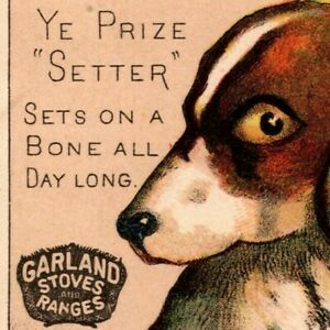 """Garland Stoves and Ranges """"Ye Prize Setter"""" Exaggerated Dog Victorian Trade Card"""